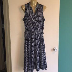 SailBoat Print Dress Button Front Like New Sz 14